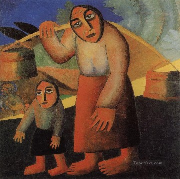 Kazimir Malevich Painting - peasant woman with buckets and a child Kazimir Malevich