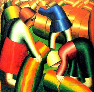 Kazimir Malevich Painting - taking in the harvest 1911 Kazimir Malevich