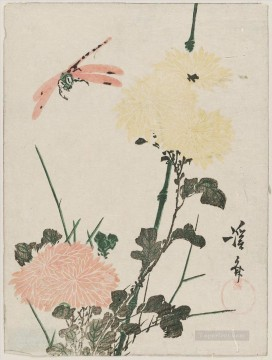 dragon Painting - chrysanthemums and dragonfly Keisai Eisen Ukiyoye