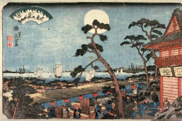 on - autumn moon over atago hill atagosan no aki no tsuki from the series eight views of edo 1846 Keisai Eisen Ukiyoye