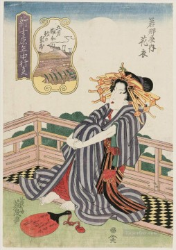 on - the fifth month hanagoromo of the wakanaya Keisai Eisen Ukiyoye