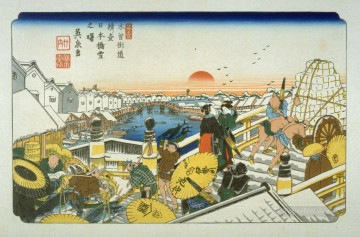 on - nihonbashi pl 1 from a facsimile edition of sixty nine stations of the kiso highway Keisai Eisen Ukiyoye