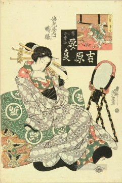 on - portrait of the courtesan kamoen of ebiya relaxing on folded futon 1825 Keisai Eisen Ukiyoye