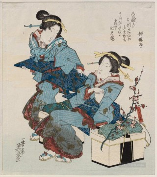 women Painting - women on an excursion Keisai Eisen Ukiyoye
