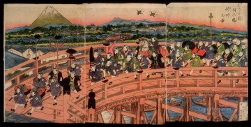 on - children s pastimes a procession on nihon bridge 1820 Keisai Eisen Ukiyoye