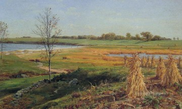 Shore Painting - Connecticut Shoreline in Autumn Luminism scenery John Frederick Kensett