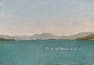 Lake Oil Painting - Lake George Free Study Luminism seascape John Frederick Kensett