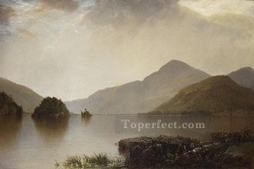 Lake Oil Painting - Lake George Luminism seascape John Frederick Kensett