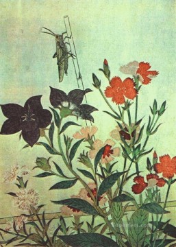 on - rice locust red dragonfly pinks chinese bell flowers 1788 Kitagawa Utamaro Ukiyo e Bijin ga