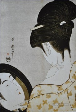 Make Art - young woman applying make up 1796 Kitagawa Utamaro Ukiyo e Bijin ga