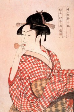 Blowing Painting - Girl blowing Vidro Kitagawa Utamaro Ukiyo e Bijin ga