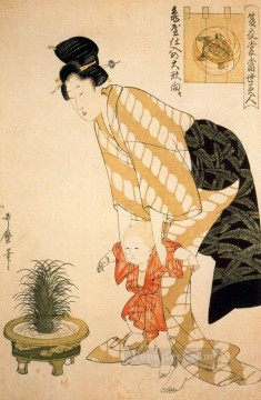 on - flower patterned cotton Kitagawa Utamaro Ukiyo e Bijin ga