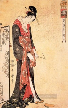Hour Painting - the hour of the snake Kitagawa Utamaro Ukiyo e Bijin ga