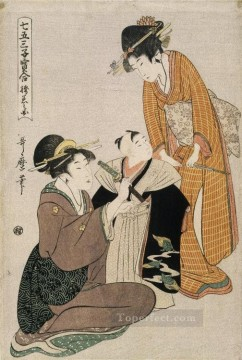 row - dressing a boy on the occasion of his first letting his hair grow Kitagawa Utamaro Ukiyo e Bijin ga