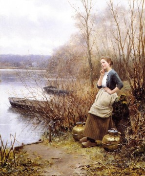 Night Art - A Lovely Thought countrywoman Daniel Ridgway Knight