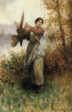 Hand Canvas - A Pheasant in Hand countrywoman Daniel Ridgway Knight