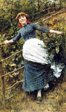 Daniel Ridgway Knight Painting - A Summers Folly countrywoman Daniel Ridgway Knight