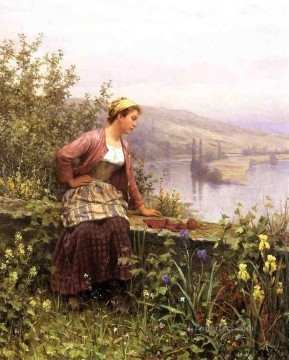 Daniel Ridgway Knight Painting - Brittany Girl Overlooking Stream countrywoman Daniel Ridgway Knight