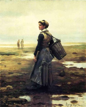 Night Art - Clamming countrywoman Daniel Ridgway Knight