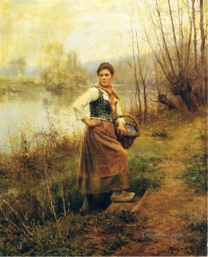 Daniel Ridgway Knight Painting - Country Girl countrywoman Daniel Ridgway Knight