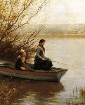 Daniel Ridgway Knight Painting - Fishing countrywoman Daniel Ridgway Knight