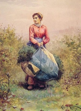 Daniel Ridgway Knight Painting - Gathering Leaves countrywoman Daniel Ridgway Knight