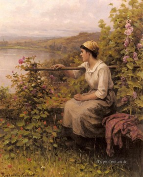 Daniel Ridgway Knight Painting - Resting In The Garden countrywoman Daniel Ridgway Knight