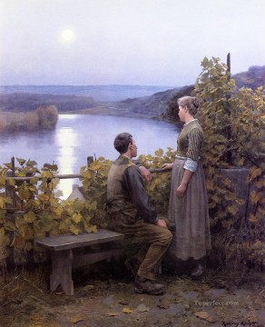 Daniel Ridgway Knight Painting - Summer Evening countrywoman Daniel Ridgway Knight