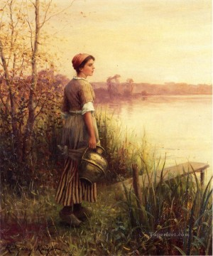 Daniel Ridgway Knight Painting - The Golden Sunset countrywoman Daniel Ridgway Knight