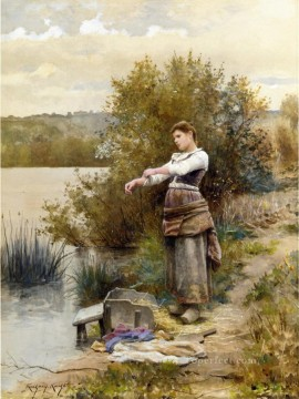 Night Art - The Laundress countrywoman Daniel Ridgway Knight