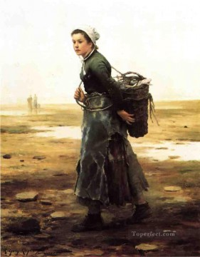 Night Art - The Oyster Gatherer countrywoman Daniel Ridgway Knight