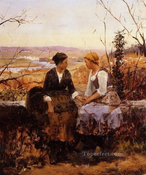 Daniel Ridgway Knight Painting - The Two Friends countrywoman Daniel Ridgway Knight