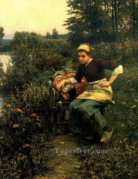 Daniel Ridgway Knight Painting - Woman in Landscape countrywoman Daniel Ridgway Knight