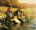 Women Washing Clothes by a Stream countrywoman Daniel Ridgway Knight