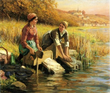Daniel Ridgway Knight Painting - Women Washing Clothes by a Stream countrywoman Daniel Ridgway Knight