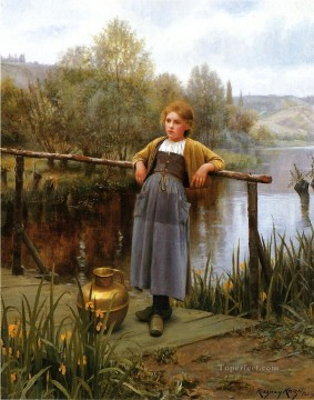 Daniel Ridgway Knight Painting - Young Girl by a Stream countrywoman Daniel Ridgway Knight