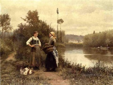 Daniel Ridgway Knight Painting - A Conversation countrywoman Daniel Ridgway Knight