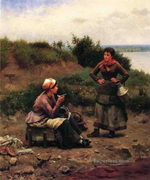 Daniel Ridgway Knight Painting - A Discussion Between Two Young Ladies countrywoman Daniel Ridgway Knight