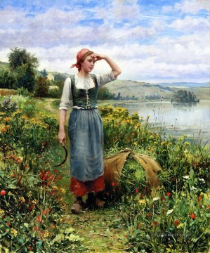 Daniel Ridgway Knight Painting - A Field of Flowers countrywoman Daniel Ridgway Knight