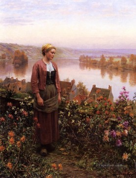 Daniel Ridgway Knight Painting - A Garden above the Seine Rolleboise countrywoman Daniel Ridgway Knight