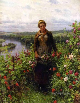 Daniel Ridgway Knight Painting - A Maid in Her Garden countrywoman Daniel Ridgway Knight