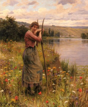 Daniel Ridgway Knight Painting - A Moment Of Rest countrywoman Daniel Ridgway Knight