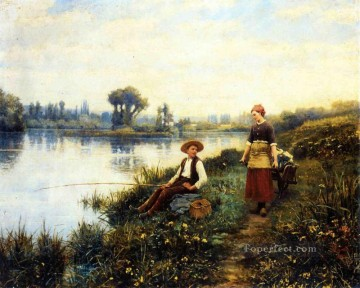 Daniel Ridgway Knight Painting - A Passing Conversation countrywoman Daniel Ridgway Knight