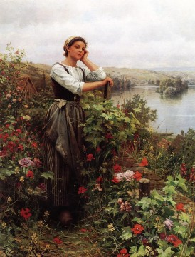 night - A Pensive Moment2 countrywoman Daniel Ridgway Knight
