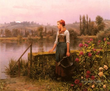 Daniel Ridgway Knight Painting - A Woman With A Watering Can By The River countrywoman Daniel Ridgway Knight