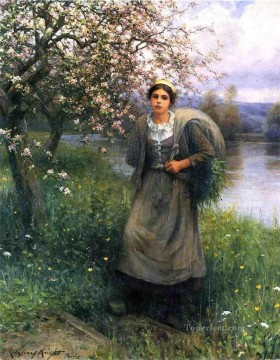 Daniel Ridgway Knight Painting - Apple Blossoms in Normandy countrywoman Daniel Ridgway Knight