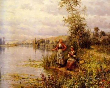 Summer Art - Aston Country Women After Fishing On A Summer Afternoon countrywoman Daniel Ridgway Knight