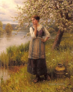 Daniel Ridgway Knight Painting - Beneath The Apple Tree countrywoman Daniel Ridgway Knight