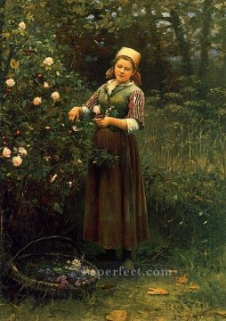 rose roses Painting - Cutting Roses countrywoman Daniel Ridgway Knight