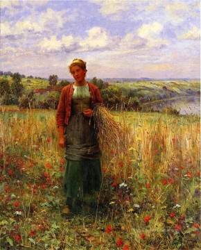 Daniel Ridgway Knight Painting - Gathering Wheat countrywoman Daniel Ridgway Knight